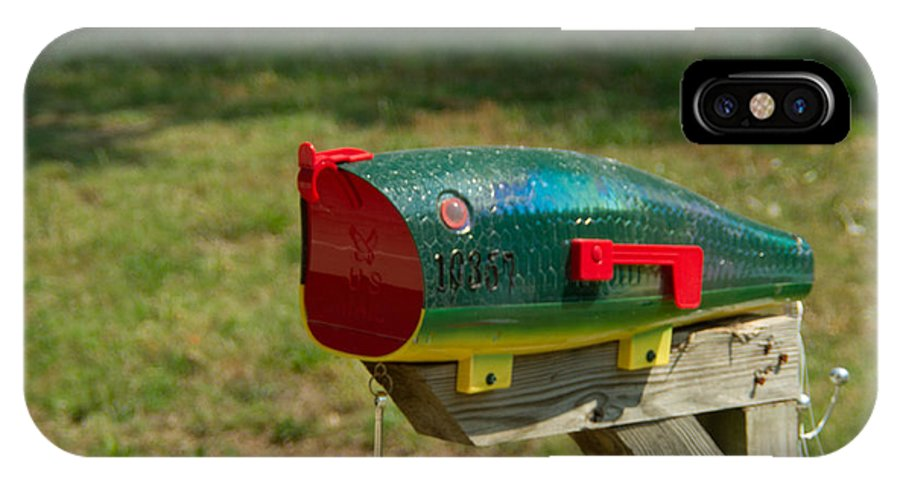 Fishing IPhone X Case featuring the photograph Fishing Lure Mailbox 1 by Douglas Barnett