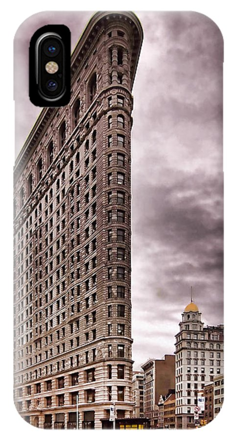 Flat Iron Building IPhone X Case featuring the photograph Flat Iron Building by Michael Dorn