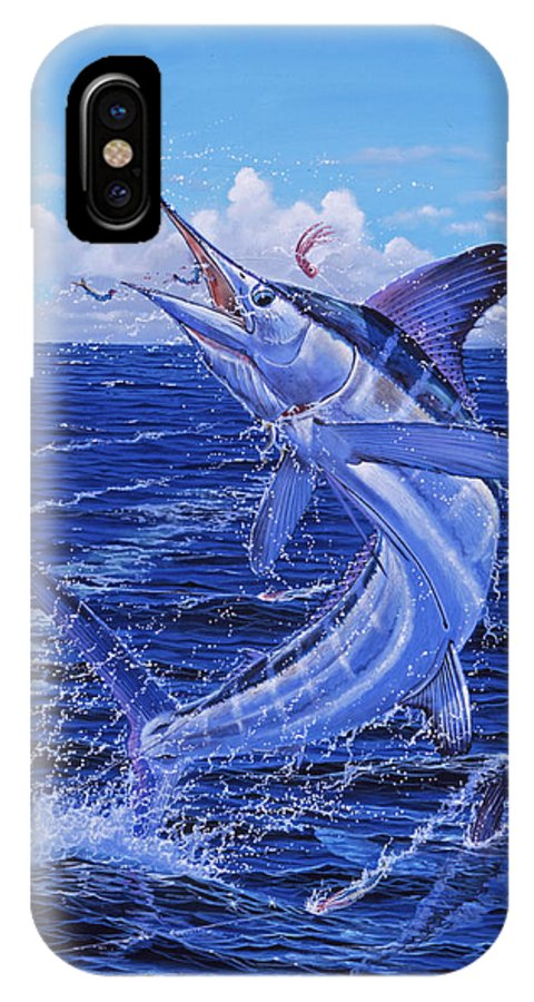 White Marlin IPhone X Case featuring the painting Flat Line by Carey Chen
