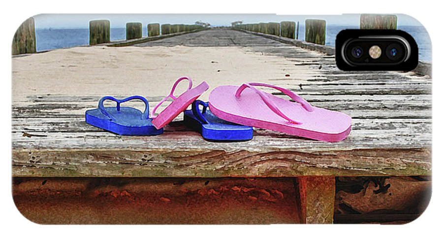 Alabama Photographer IPhone X Case featuring the digital art Flip Flops On The Dock by Michael Thomas