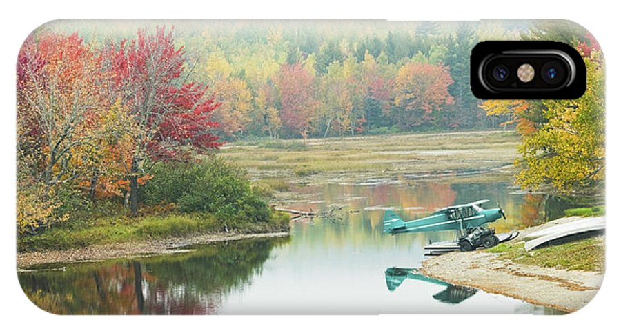Airplane IPhone X Case featuring the photograph Float Plane On Pond Near Golden Road Maine Photo Poster Print by Keith Webber Jr