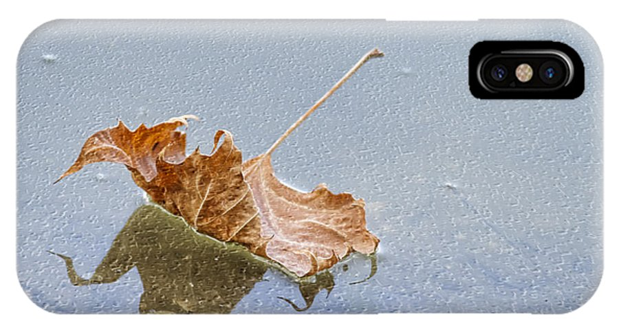 Leaf IPhone X / XS Case featuring the photograph Floating Down Lifes Path 2 by Deborah Benoit