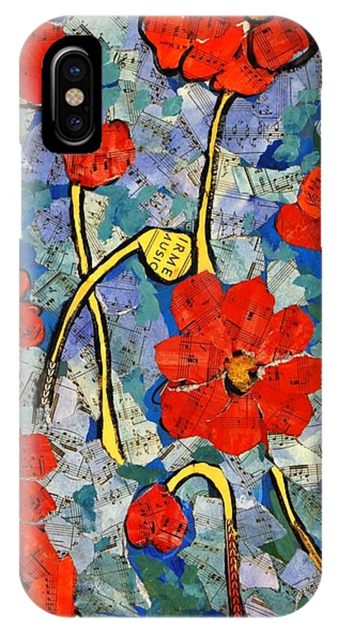 Art IPhone X Case featuring the painting Floral Art - Red Poppies by Miriam Schulman