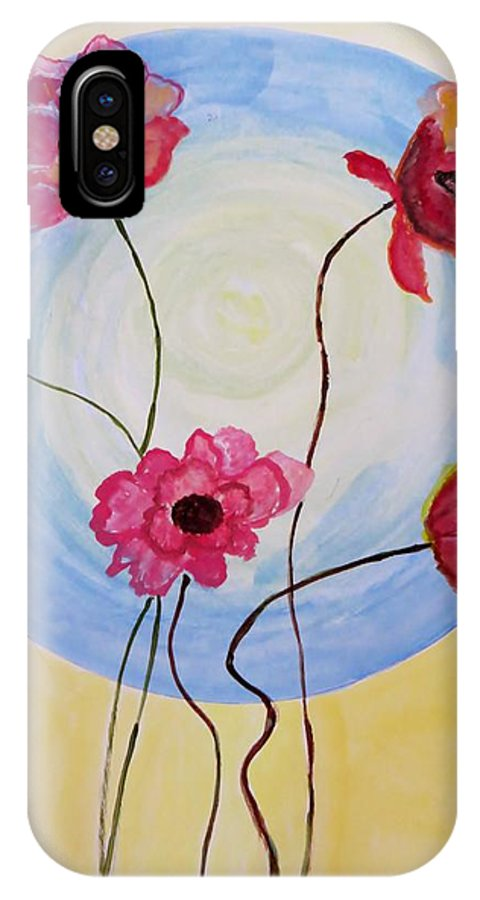 The Dream IPhone X Case featuring the painting Floral Orb by Sonali Gangane