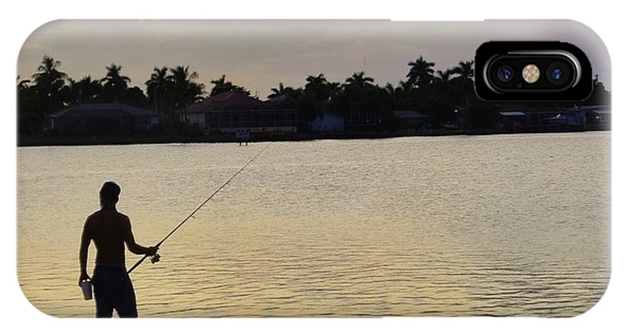 Florida IPhone X Case featuring the photograph Florida Fishing At Sunset by Florene Welebny