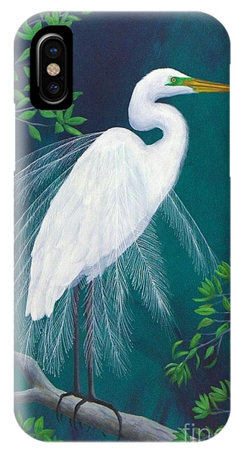 Heron IPhone X Case featuring the painting Florida Splendor by Carole Z Williams