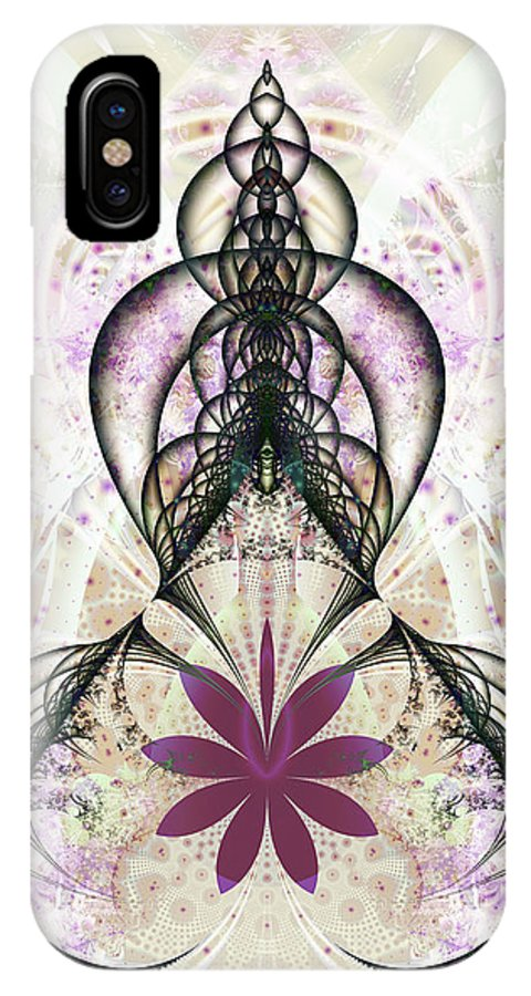 Fractal IPhone X Case featuring the digital art Flower Gate by Frederic Durville
