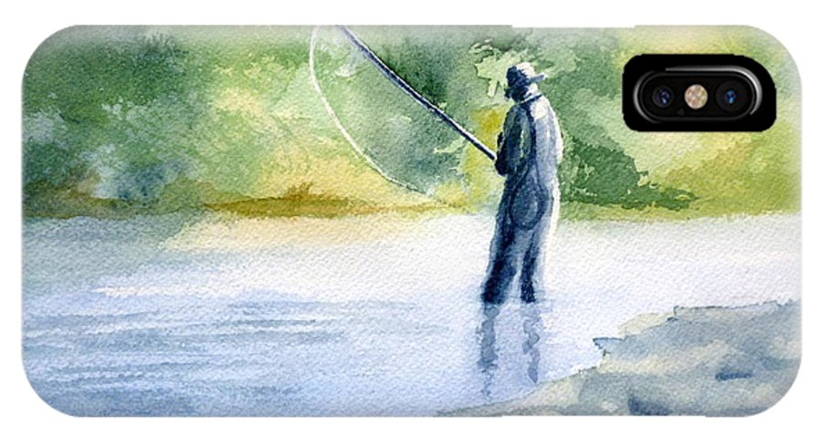 Fly Fishing IPhone X Case featuring the painting Flyfishing by Eleonora Perlic