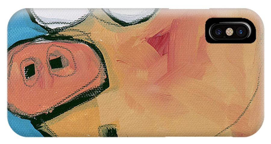 Pig IPhone X Case featuring the painting Flying Pig 1 by Tim Nyberg