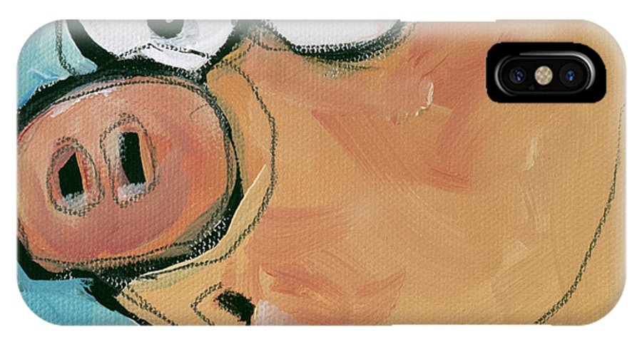 Pig IPhone X Case featuring the painting Flying Pig 2 by Tim Nyberg