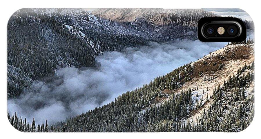 Hurricane Ridge IPhone X Case featuring the photograph Fog Below Hurricane by Adam Jewell