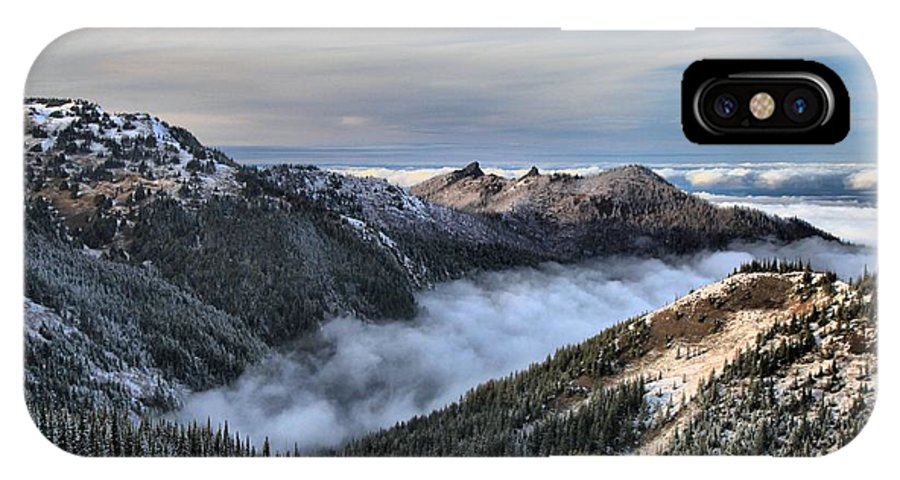 Hurricane Ridge IPhone X Case featuring the photograph Fog In The Valley by Adam Jewell