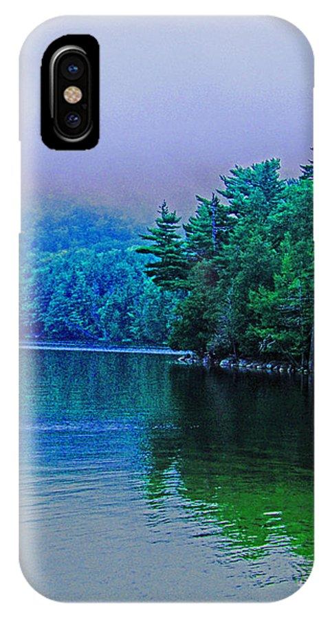 Fog IPhone X Case featuring the digital art Foggy Mountain Pond by Lizi Beard-Ward
