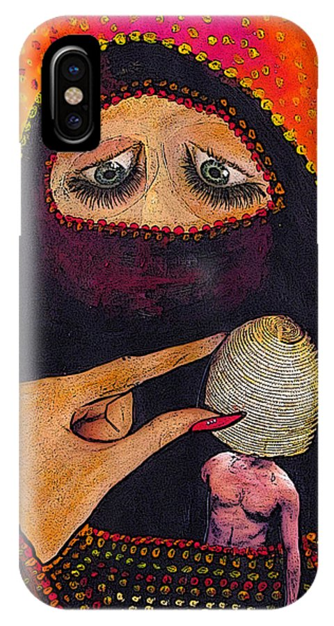 Women IPhone X Case featuring the mixed media For some inexplicable reason... by Veronica Jackson
