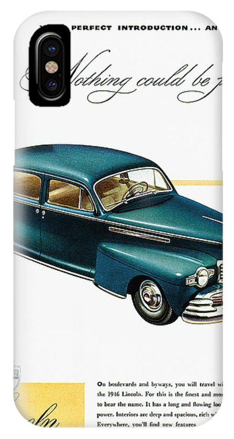 1946 IPhone X Case featuring the photograph Ford Lincoln Ad, 1946 by Granger
