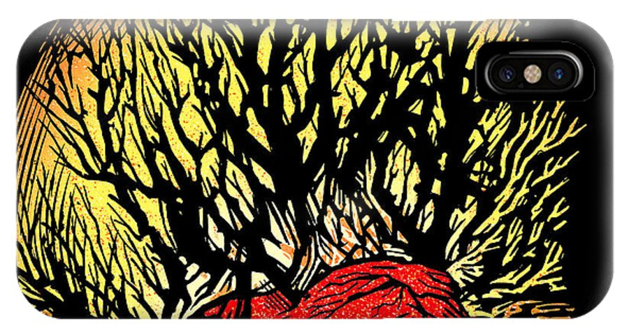 Tree IPhone X / XS Case featuring the photograph Forest Fire, Lino Print by Gary Hincks
