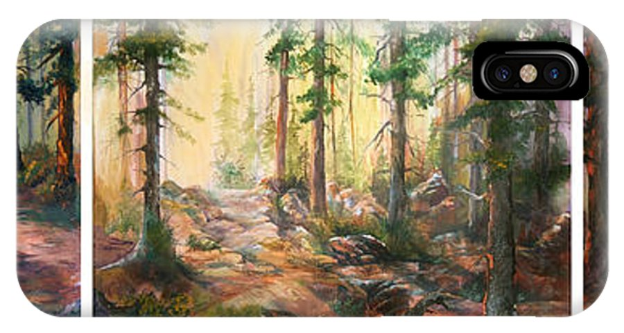 Forest IPhone X Case featuring the painting Forest Light Triptych by Sherry Shipley