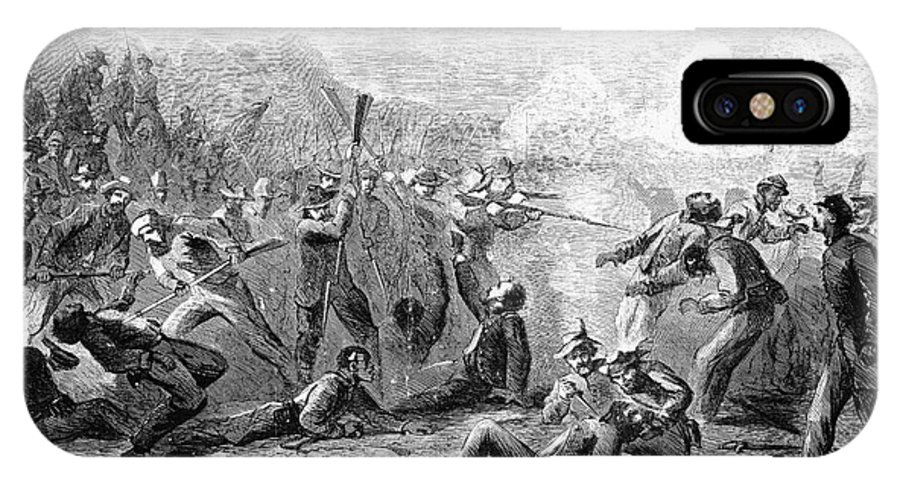 1864 IPhone X Case featuring the photograph Fort Pillow Massacre, 1864 by Granger