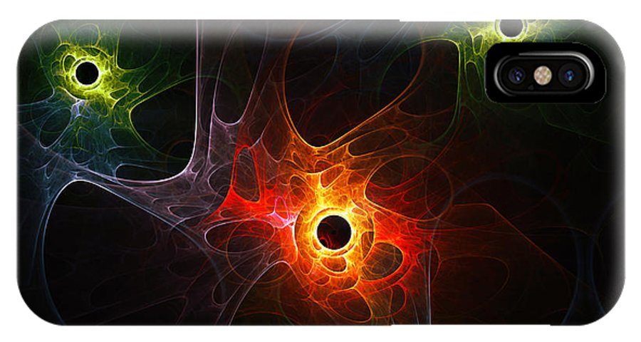 Fractal Network Net Digital Abstract Plasm Nebula Universe Space Braincell Cell Expressionism Color Colorful Digital Art Painting IPhone X Case featuring the painting Fractal Network by Steve K