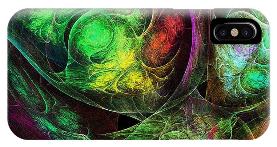 Spirals IPhone X Case featuring the digital art Fractal Spirals by Klara Acel
