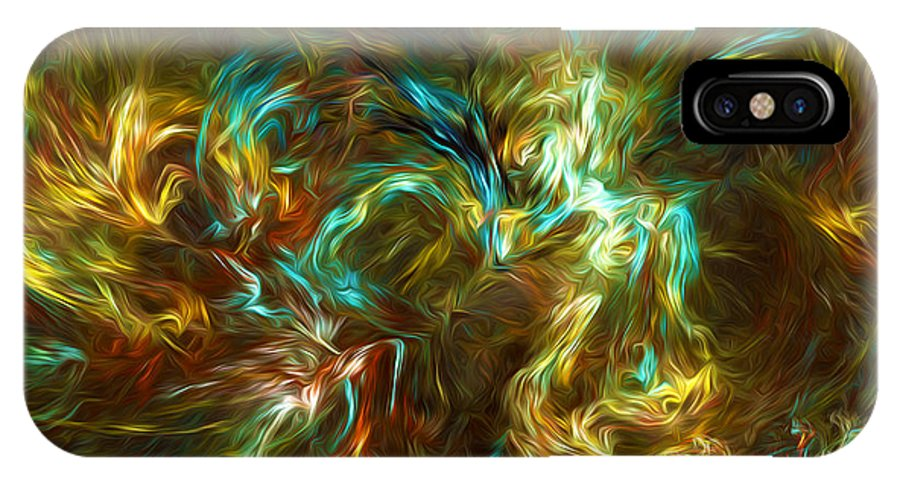 Abstract IPhone X Case featuring the digital art Fractal002 by Svetlana Sewell