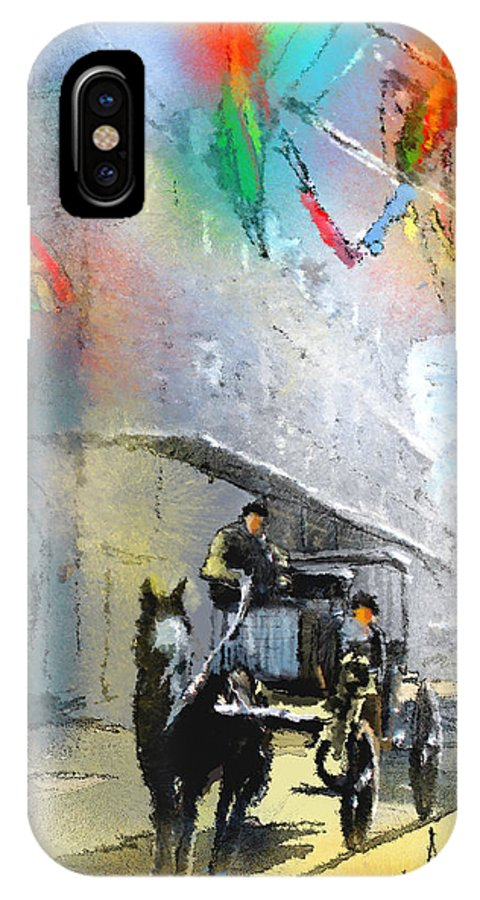 Travel IPhone X Case featuring the painting French Quarter In New Orleans Bis by Miki De Goodaboom