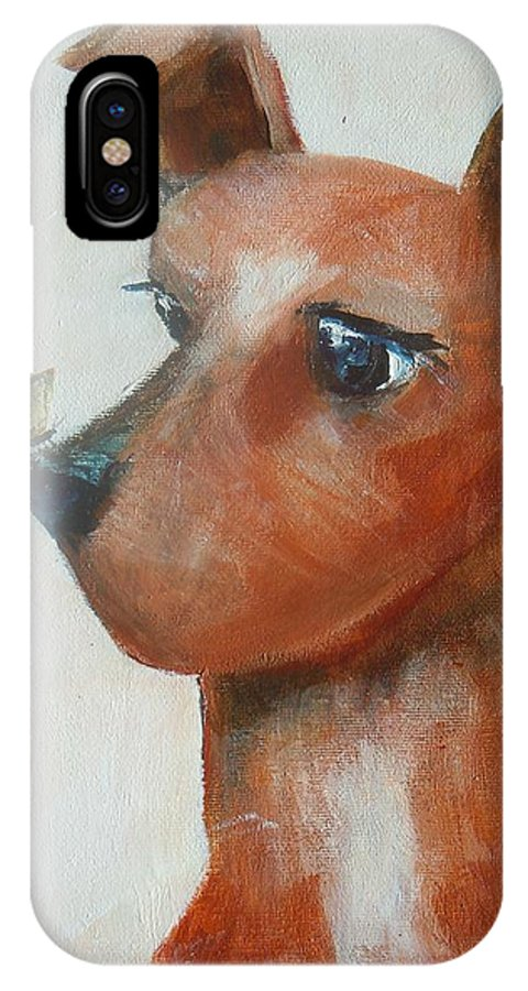 Dog And Butterfly IPhone X Case featuring the painting Friends Are Friends by Dan Whittemore