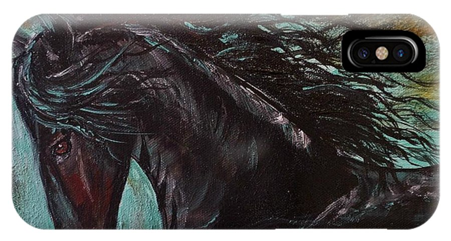 Friesian IPhone X Case featuring the painting Friesian Frolic Series 3 by Leslie Allen