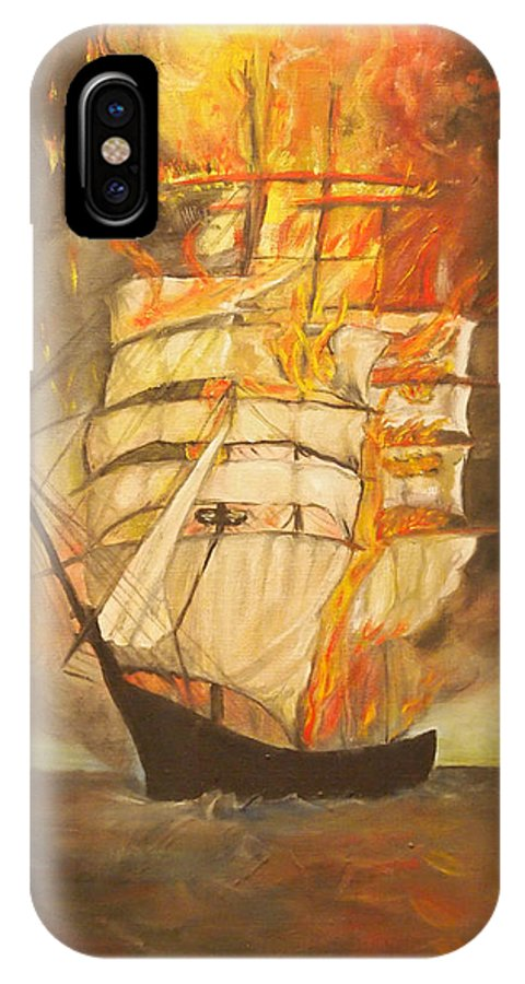 Fire IPhone X Case featuring the painting Fuego Al Mar by Veronica Zimmerman
