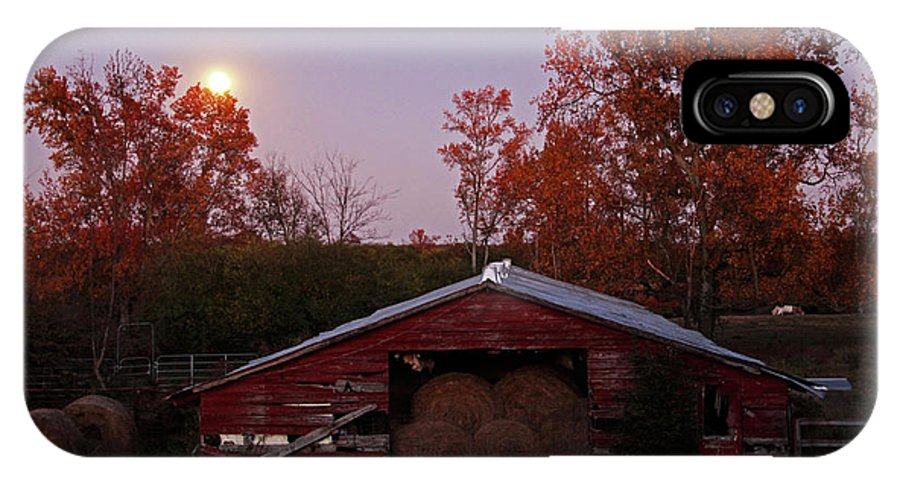 Full Moon IPhone X Case featuring the photograph Full Moon And Barn by Debbie Morris
