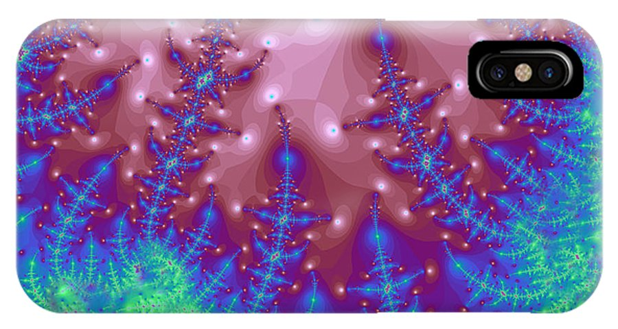 Fractal IPhone X Case featuring the digital art Full Moon Snow 5 by Betsy Knapp