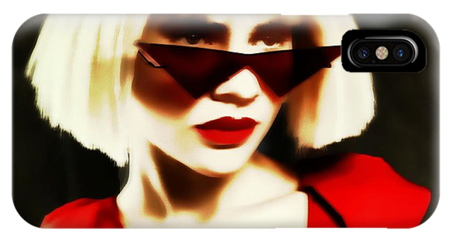 Blonde Pinhole Effect Red Glasses Woman Lady IPhone X Case featuring the photograph Funky Red Glasses by Alice Gipson