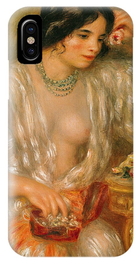 Gabrielle Renard; 1878-1959; Aux Bijoux; Jewels; Jewelry Box; Necklace; Roses; Female; Model; Portrait; Impressionist; Jewellery; Model; Beauty IPhone X Case featuring the painting Gabrielle With Jewellery by Pierre Auguste Renoir