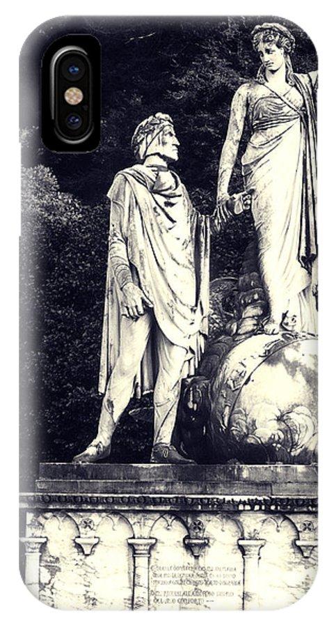 Statue IPhone X Case featuring the photograph Garden Statue At Villa Capri by Greg Matchick