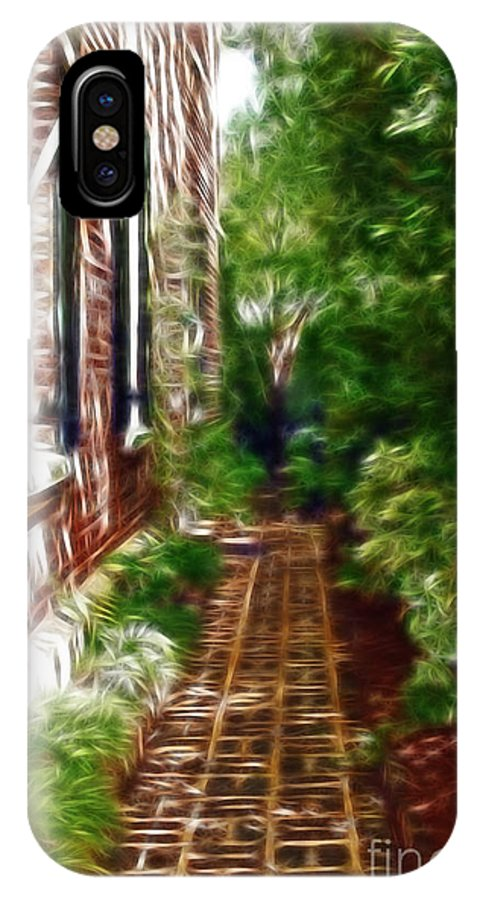 Brick IPhone X Case featuring the photograph Garden Walkway by Darleen Stry