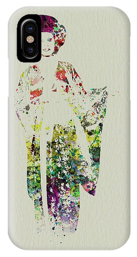 Kimono IPhone X Case featuring the painting Geisha by Naxart Studio