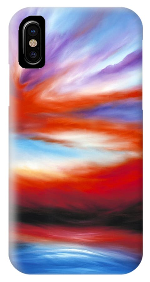 Sunrise; Sunset; Power; Glory; Cloudscape; Skyscape; Purple; Red; Blue; Stunning; Landscape; James C. Hill; James Christopher Hill; Jameshillgallery.com; Ocean; Lakes; Creation; Genesis IPhone X Case featuring the painting Genesis II by James Christopher Hill
