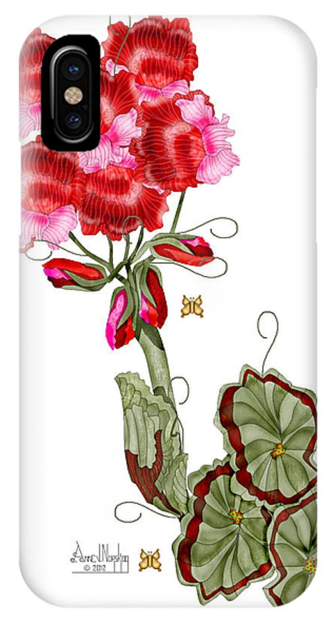 Anne Norskog IPhone X Case featuring the painting Geranium Sans Pot by Anne Norskog