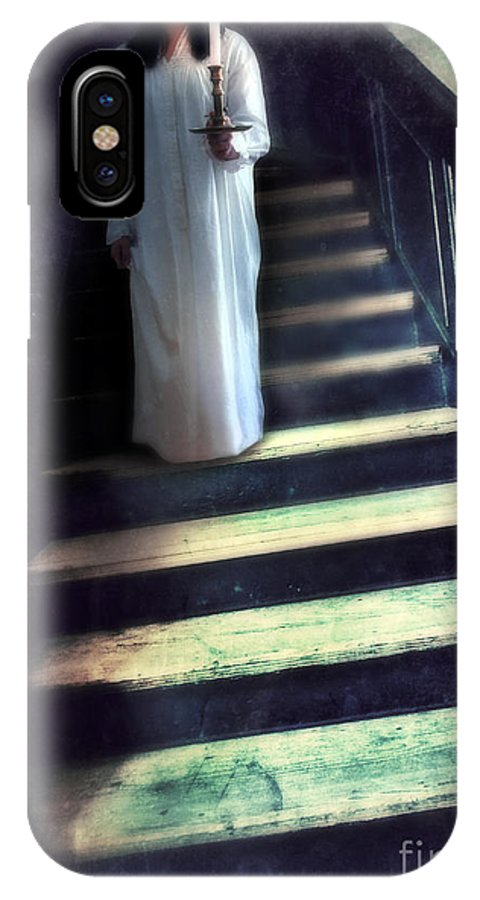 Woman IPhone X / XS Case featuring the photograph Girl In Nightgown On Steps by Jill Battaglia