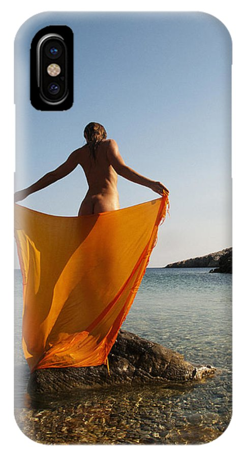 Woman IPhone X Case featuring the photograph Girl With The Orange Veil by Manolis Tsantakis