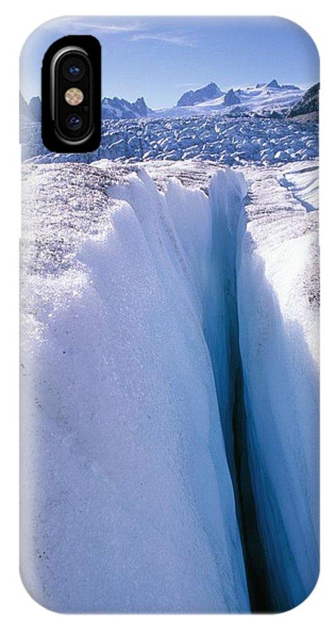 Tellot Glacier IPhone X / XS Case featuring the photograph Glacier Crevasse, Canada by David Nunuk