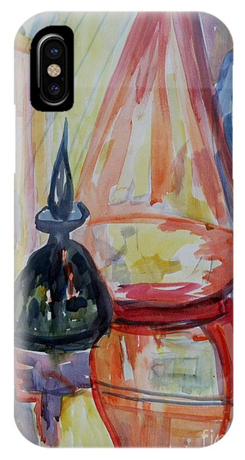 Glass IPhone X Case featuring the painting Glass Bottles Still Life by Avonelle Kelsey