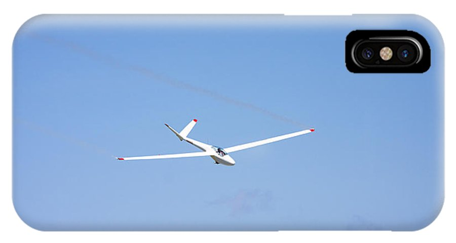 Plane IPhone X Case featuring the photograph Glider Flying In Blue Sky Canvas Photo Poster Print by Keith Webber Jr