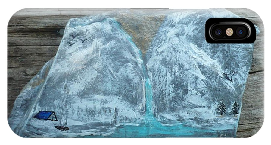 Rock IPhone X Case featuring the painting Gold In Mountain by Monika Shepherdson