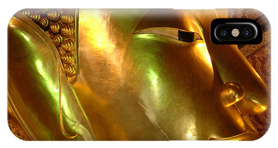Reclining Buddha IPhone X Case featuring the photograph Golden Face Of Buddha by Bob Christopher