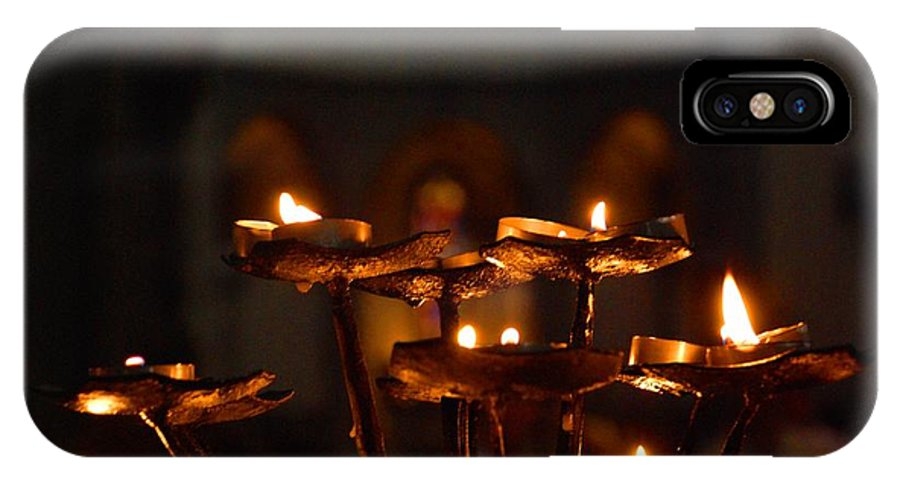 Candles IPhone X Case featuring the photograph Golden Lights by Dany Lison