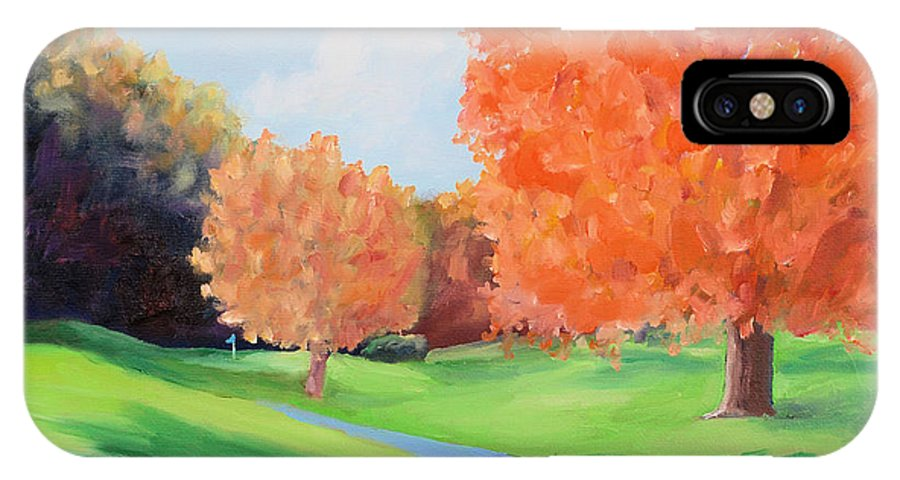 Golf IPhone X Case featuring the painting Golf Course In The Fall 1 by Todd Bandy
