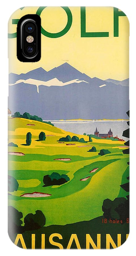 Golf IPhone X Case featuring the digital art Golfing In Lausanne by Georgia Fowler