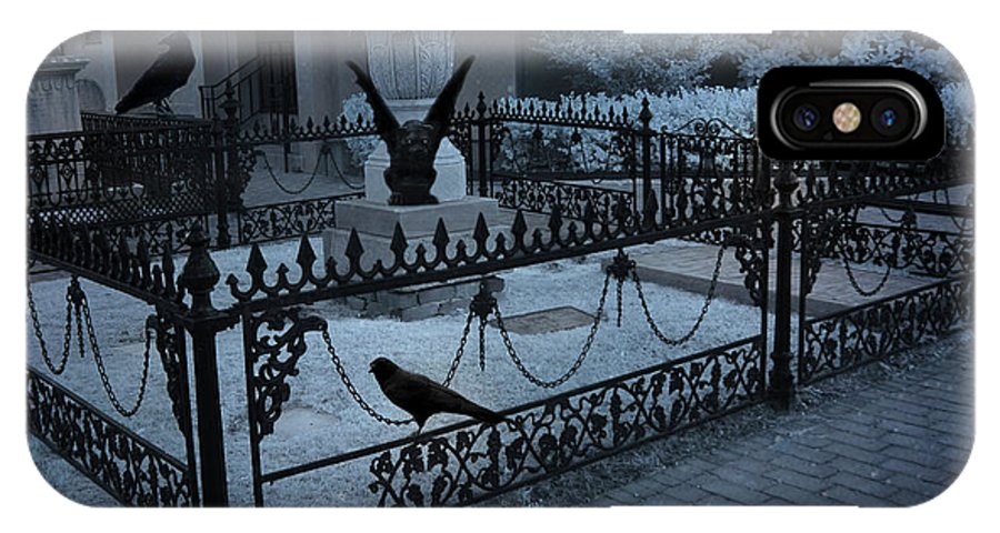 Cemetery Gargoyle IPhone X Case featuring the photograph Gothic Surreal Night Gargoyle And Ravens - Moonlit Cemetery With Gargoyles Ravens by Kathy Fornal