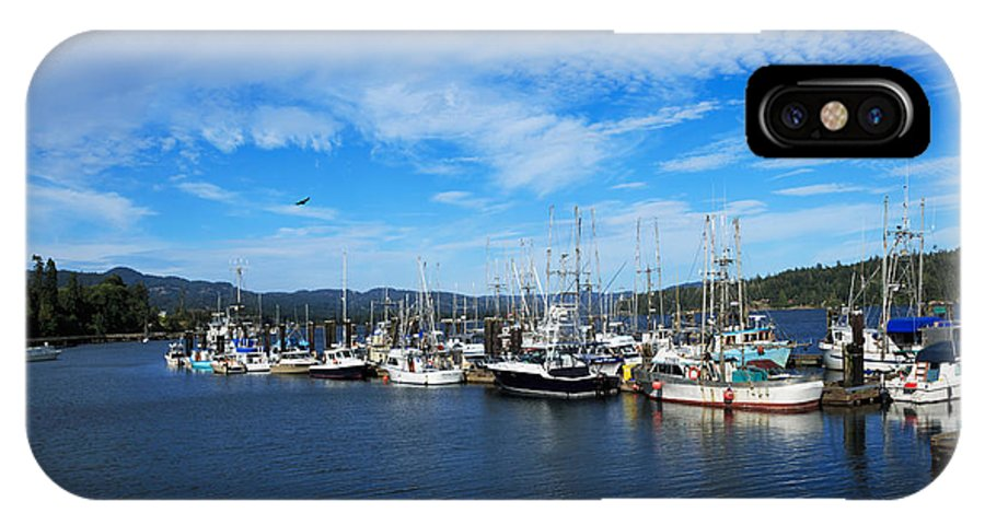 Boats IPhone X Case featuring the photograph Government Wharf In Sooke Harbour by Louise Heusinkveld